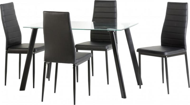 ABIGAIL DINING TABLE + 4 CHAIRS - Black