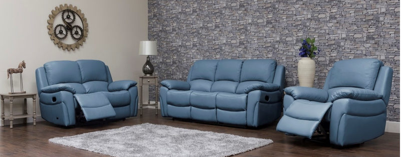 Serena Recliner - 3 + 2 Bundle, Sky Blue